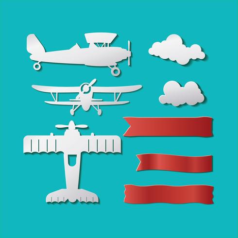 Template Planes or Biplane Hipster Set Cutting Paper Style