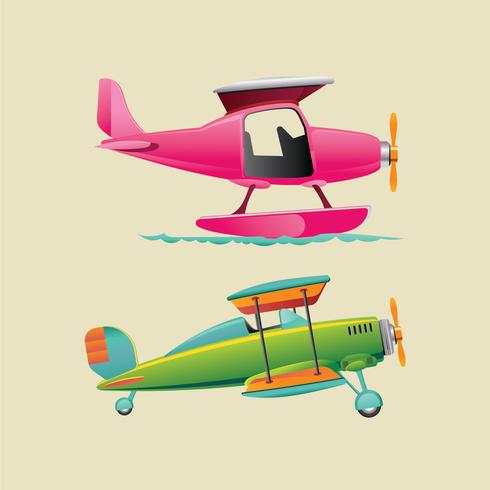 Colorful  Aircraft Biplane and Monoplane with Propeller