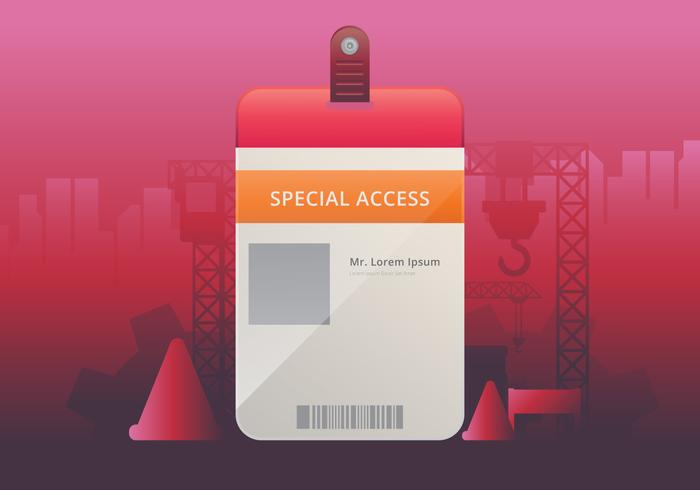 VIP Pass ID card Template. Realistic Blank Vertical ID for Construction Theme. Mockup.