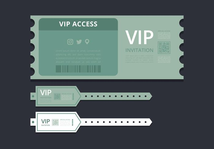 VIP Pass ID card or Ticket Template. VIP Pass for Event Template. Flat  Horizontal VIP Pass with Green Ticket. Mockup.
