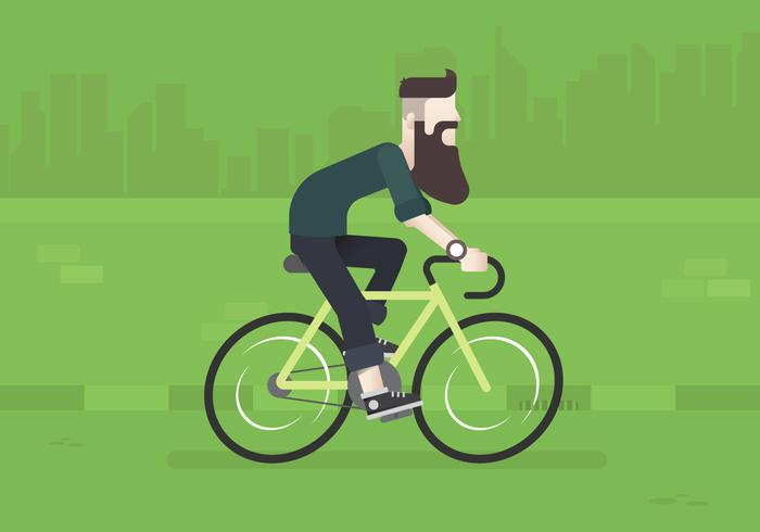 Hipster Lifestyle. Hipster Biking Lifestyle Illustration. Young Man Hipster Biking in City.
