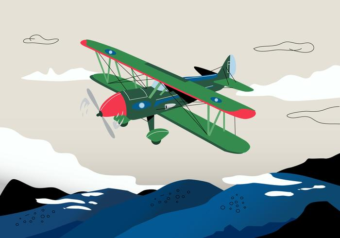 Retro krig biplan bakgrund vektor illustration