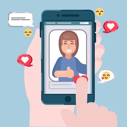 Selfie de vetor na ilustração de telefone móvel