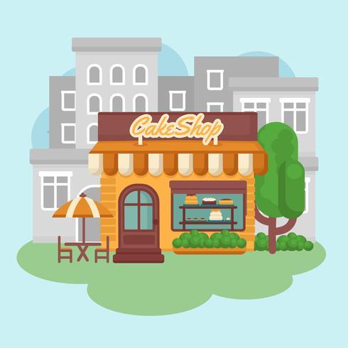 vector colorido edificio de panadería