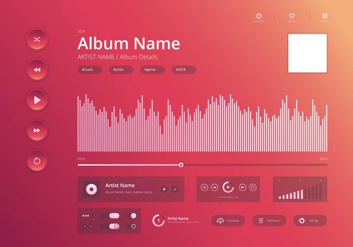 Audio Music Control UI Modern Style en Bright and Stylish Theme.