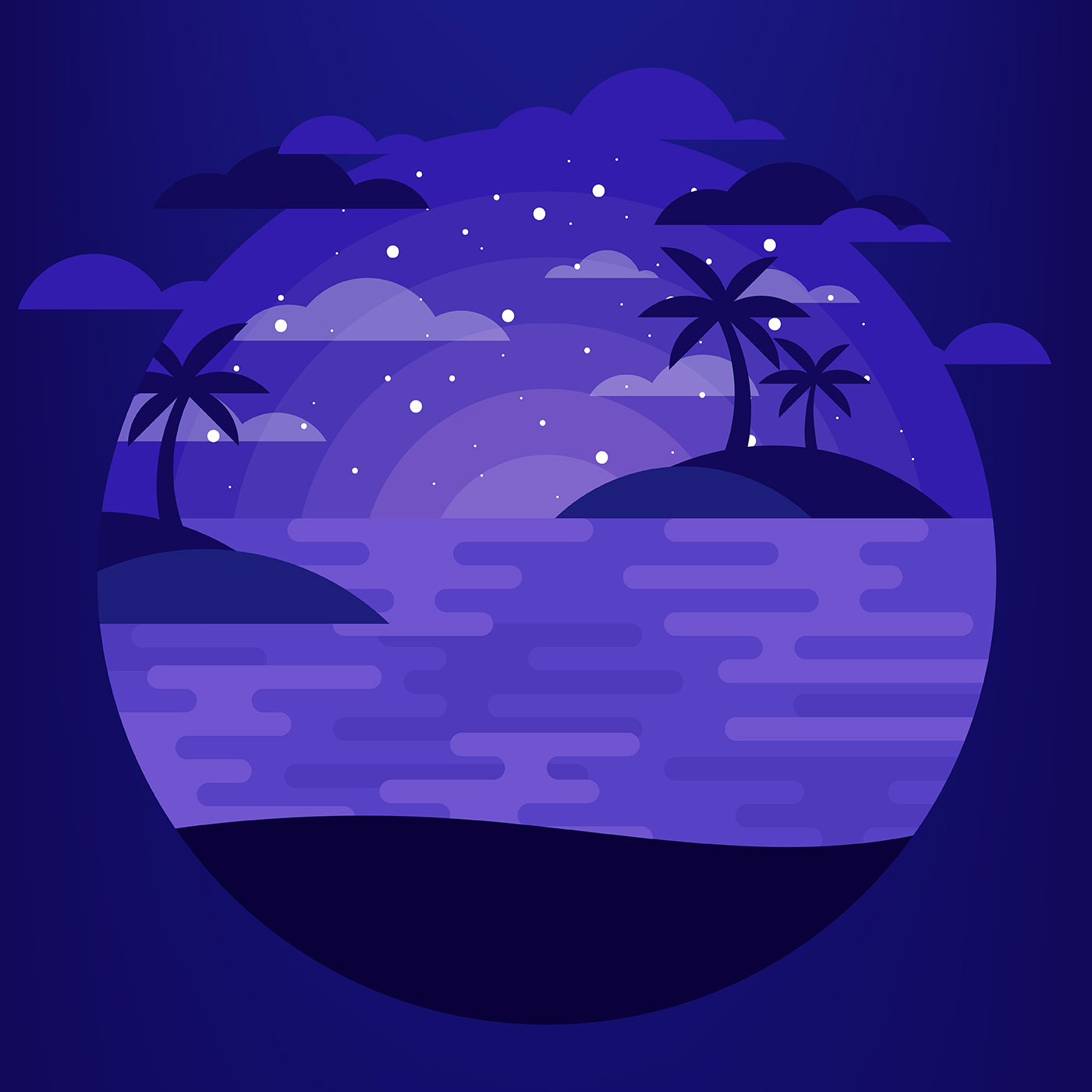 Night Time Beach Illustration - Download Free Vectors ...