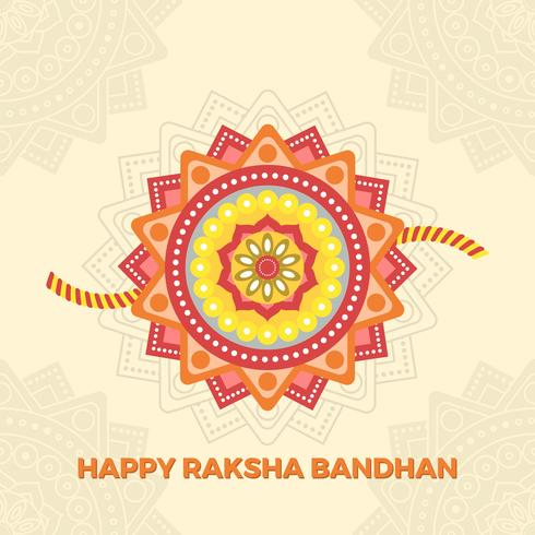 Saluti felici piani di Rakhi con Mandala Background Vector Illustration