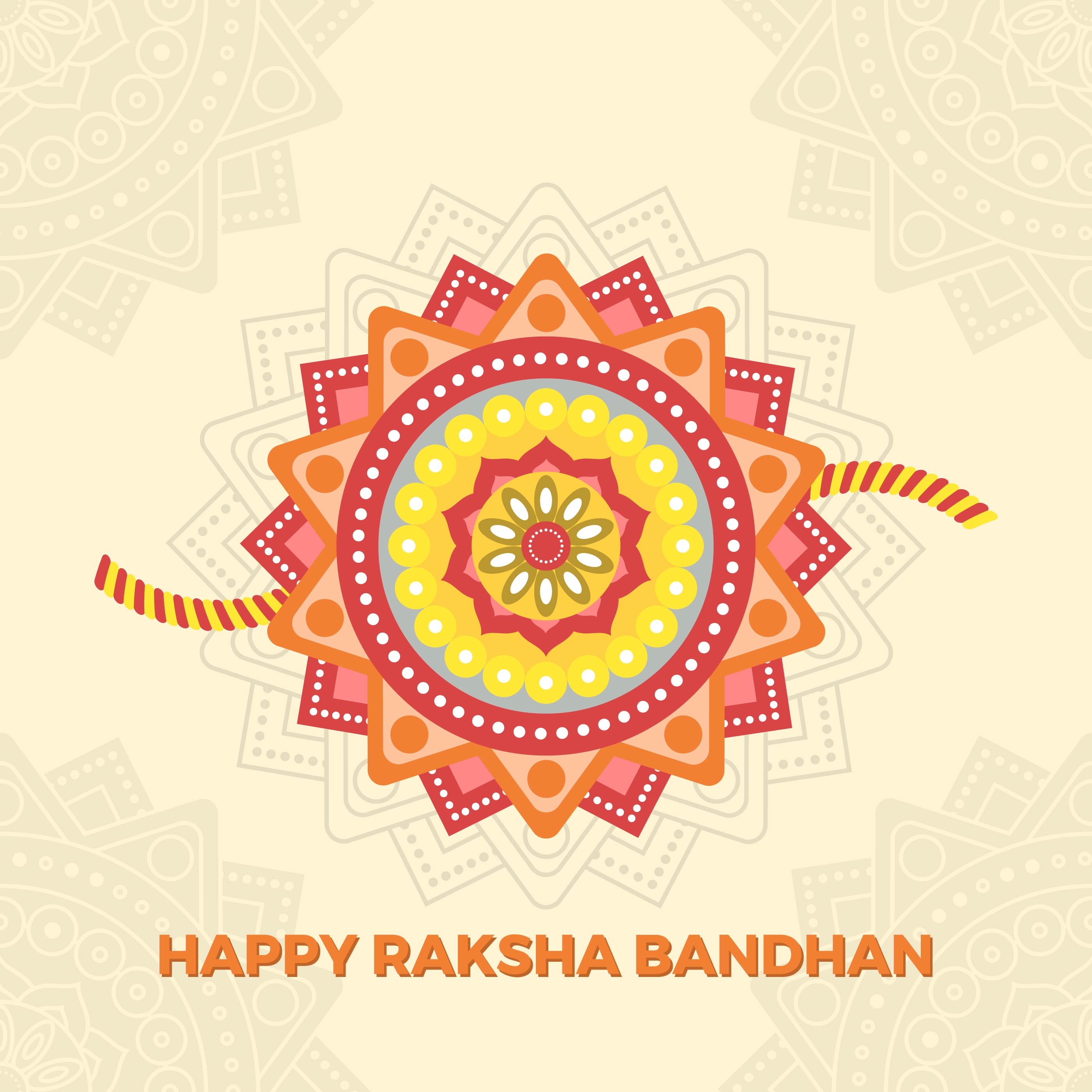 Flat Happy Rakhi Greetings With Mandala Background Vector