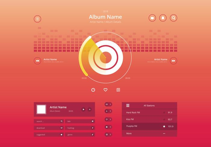 Audio Music Control UI in Modern Stylish in Colorful Theme.