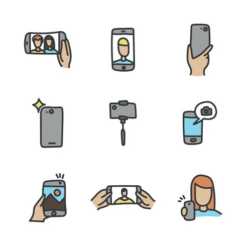 Selfie Doodled Icons