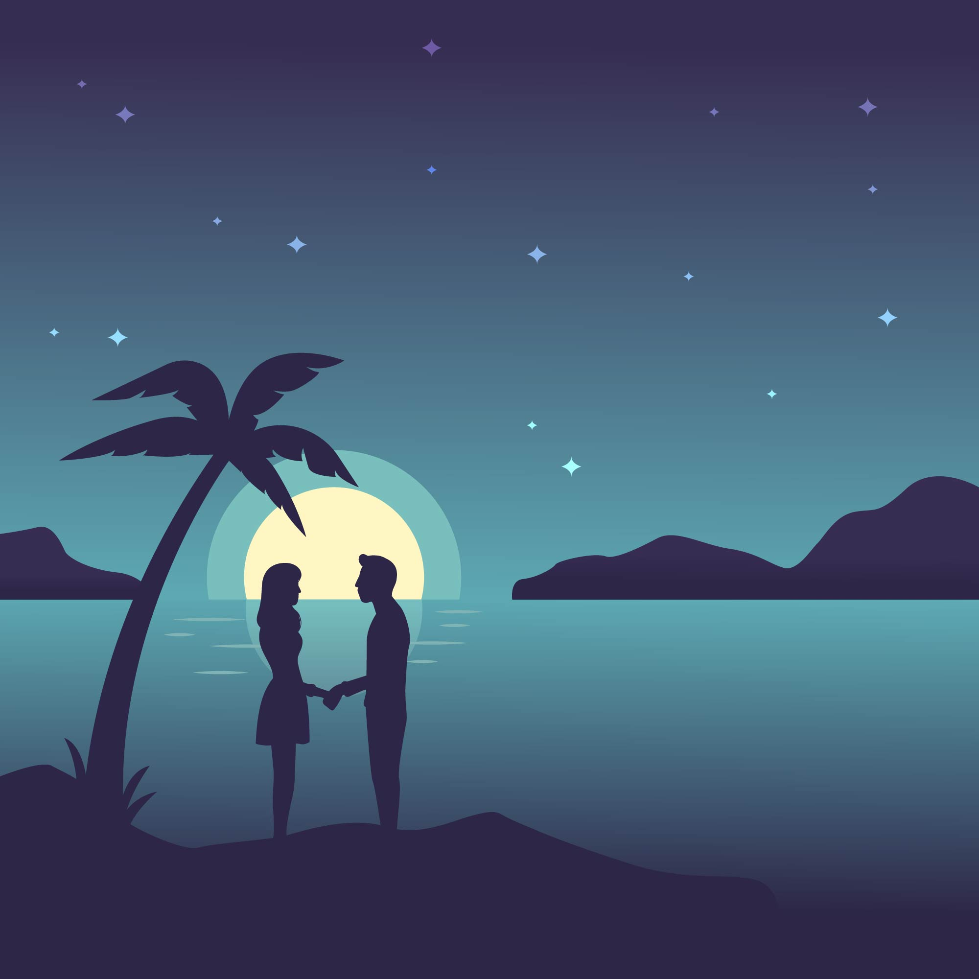 Night Time Beach Vector - Download Free Vectors, Clipart ...