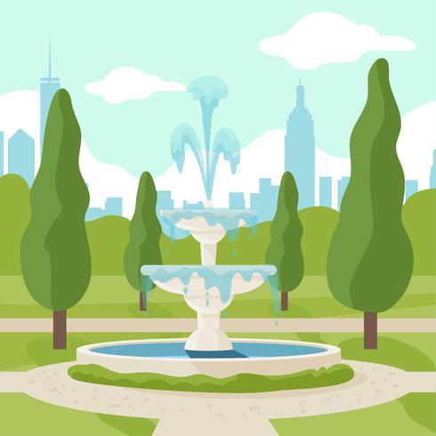 vector de parque de la fuente