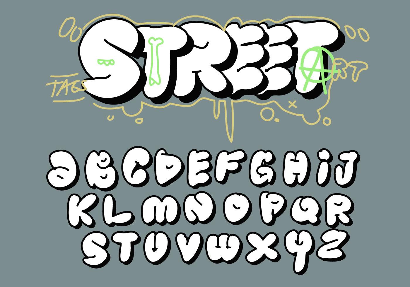 Grosse grosse bulle lettre tag graffiti alphabet vector - L alphabet en graffiti ...