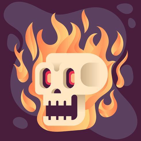 Ilustração de caveira em chamas
