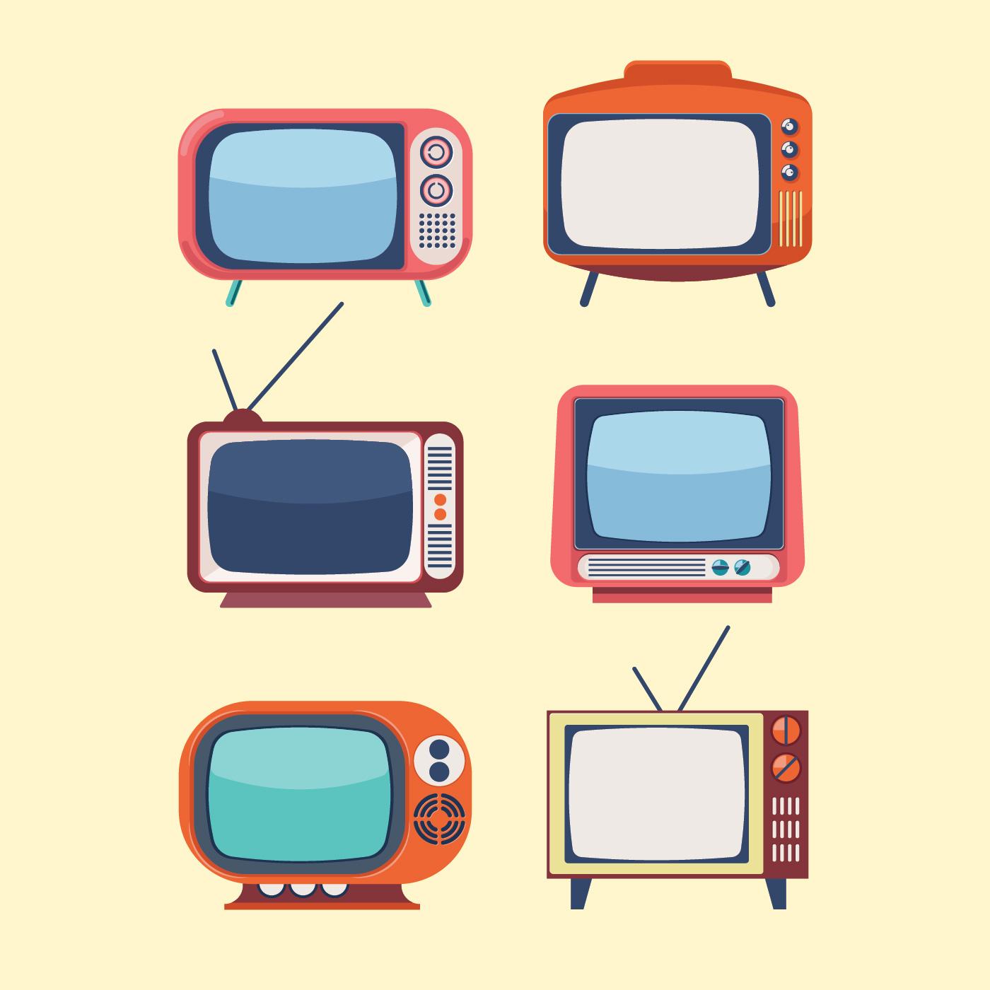 Set of Retro TV - Download Free Vectors, Clipart Graphics ...