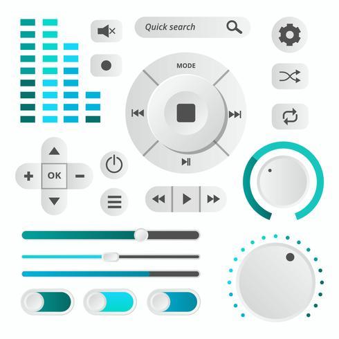 Vecteur de contrôle audio UI moderne