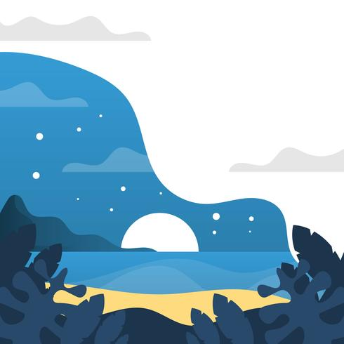 Flat Night Time in Beach With Minimalist Gradient Background Vector Illustration