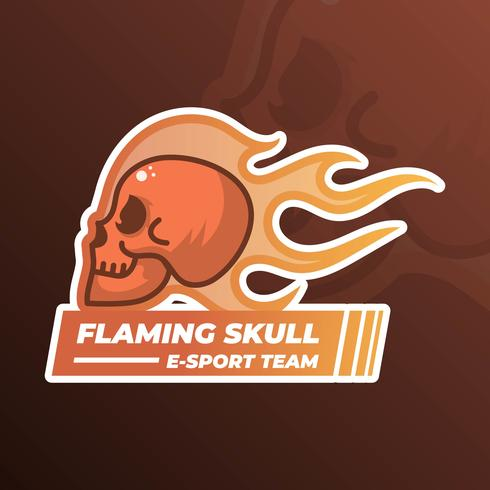 Flat Modern Minimalist Flaming Skull With Gradient Flame Background Vector Illustration