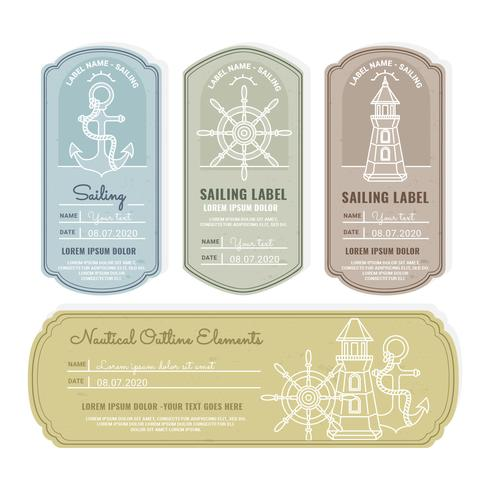Étiquettes d'éléments nautiques de vecteur