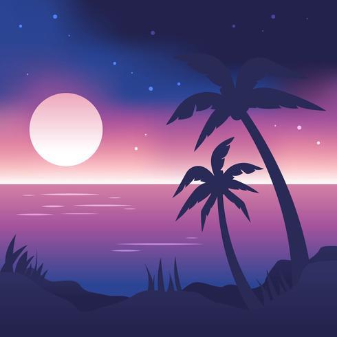 Night Time Beach Vector