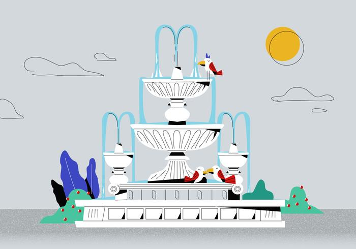 Classic White Roman Fountain Vector Platt bakgrunds illustration