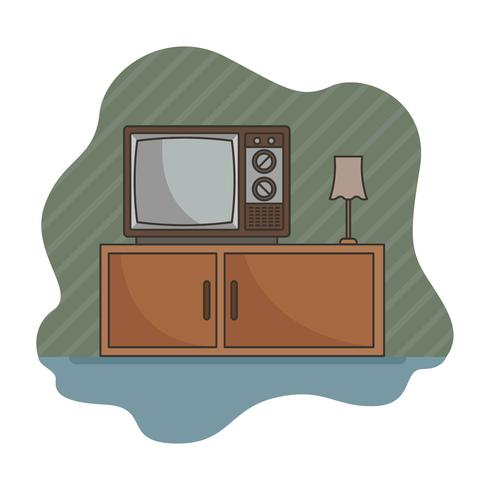 Televisão retrô com fundo de listras