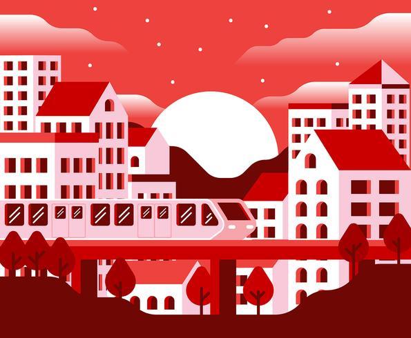 Stadtbild-Sonnenuntergang-Illustration
