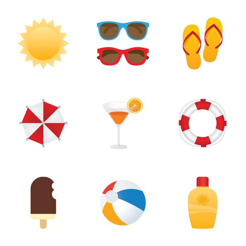 Gratis Summer Icon Vector Set
