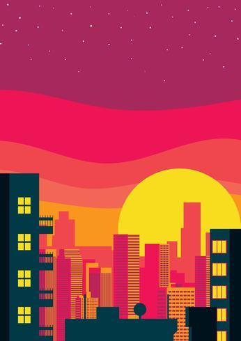 stadsbild solnedgång illustration