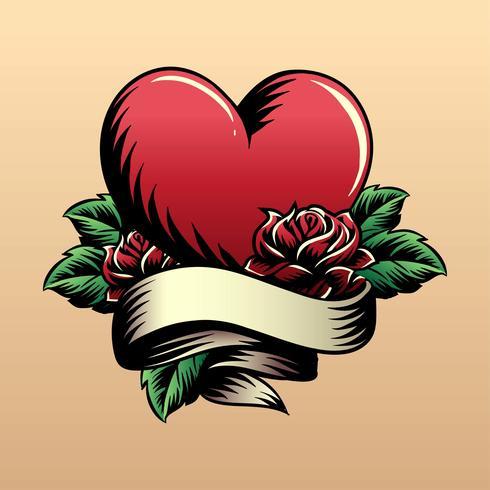 hjärta tatuering vektor