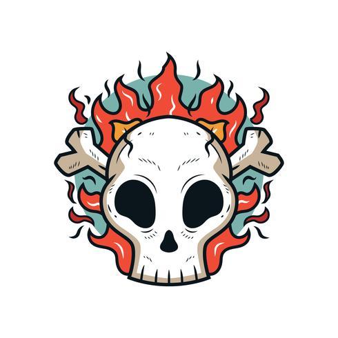 Flammender Schädel Vektor