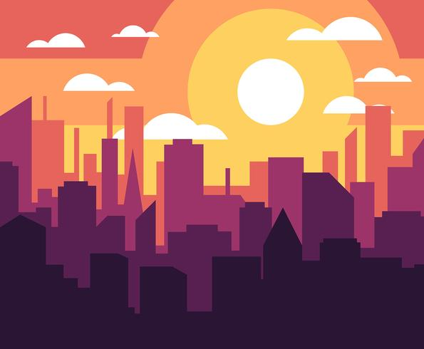 Cityscape Sunset Illustration