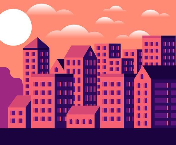 Ilustración puesta del sol del paisaje urbano