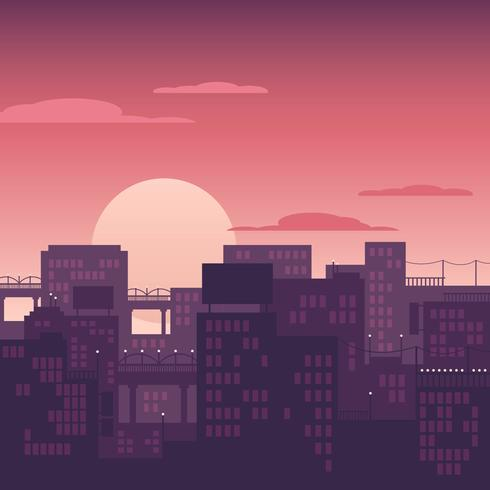Paisaje urbano Sunset Vector