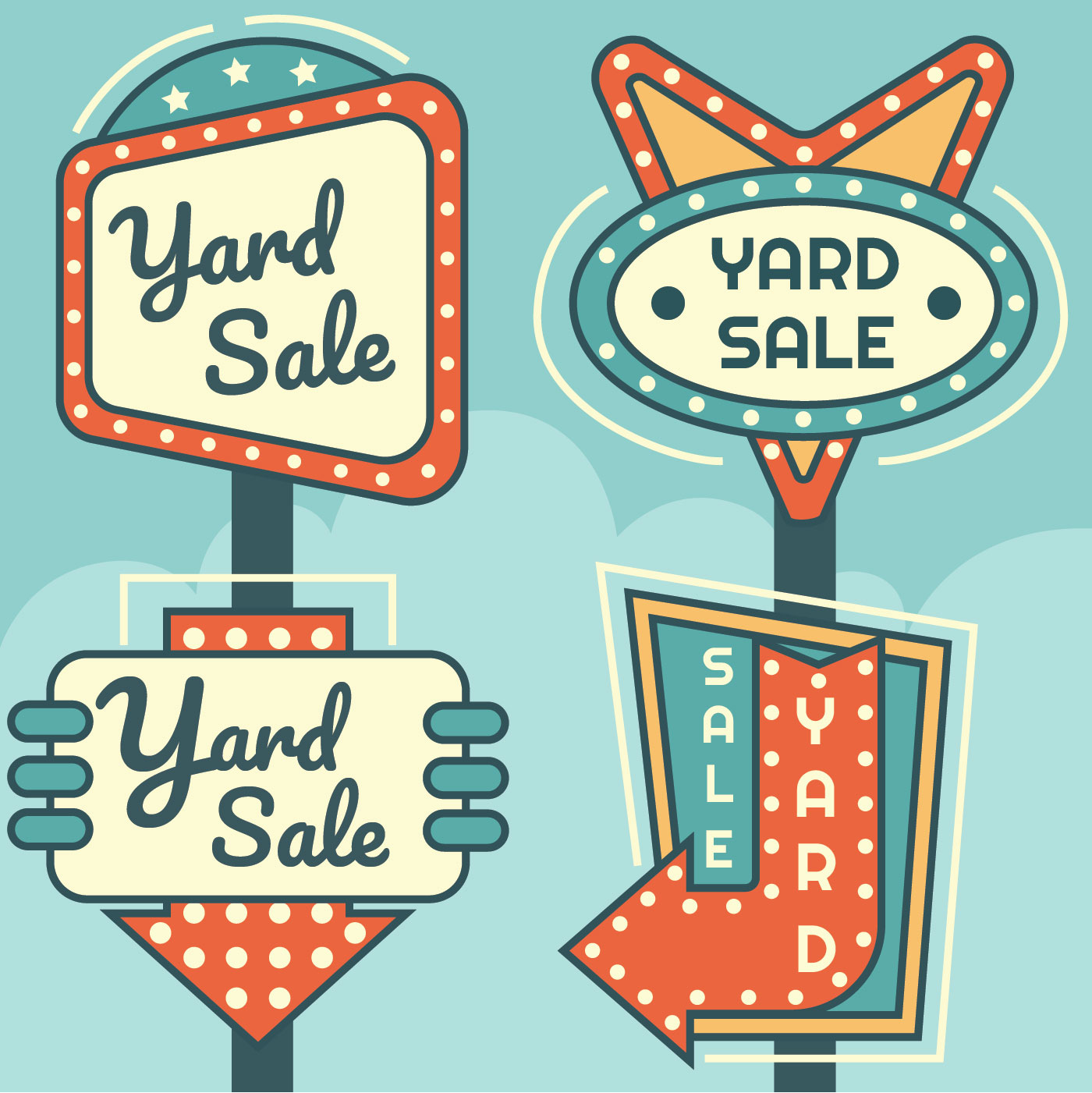Yard-Verkaufs-Zeichen-Vektor-Satz - Kostenlose Vektor-Kunst, Archiv ...