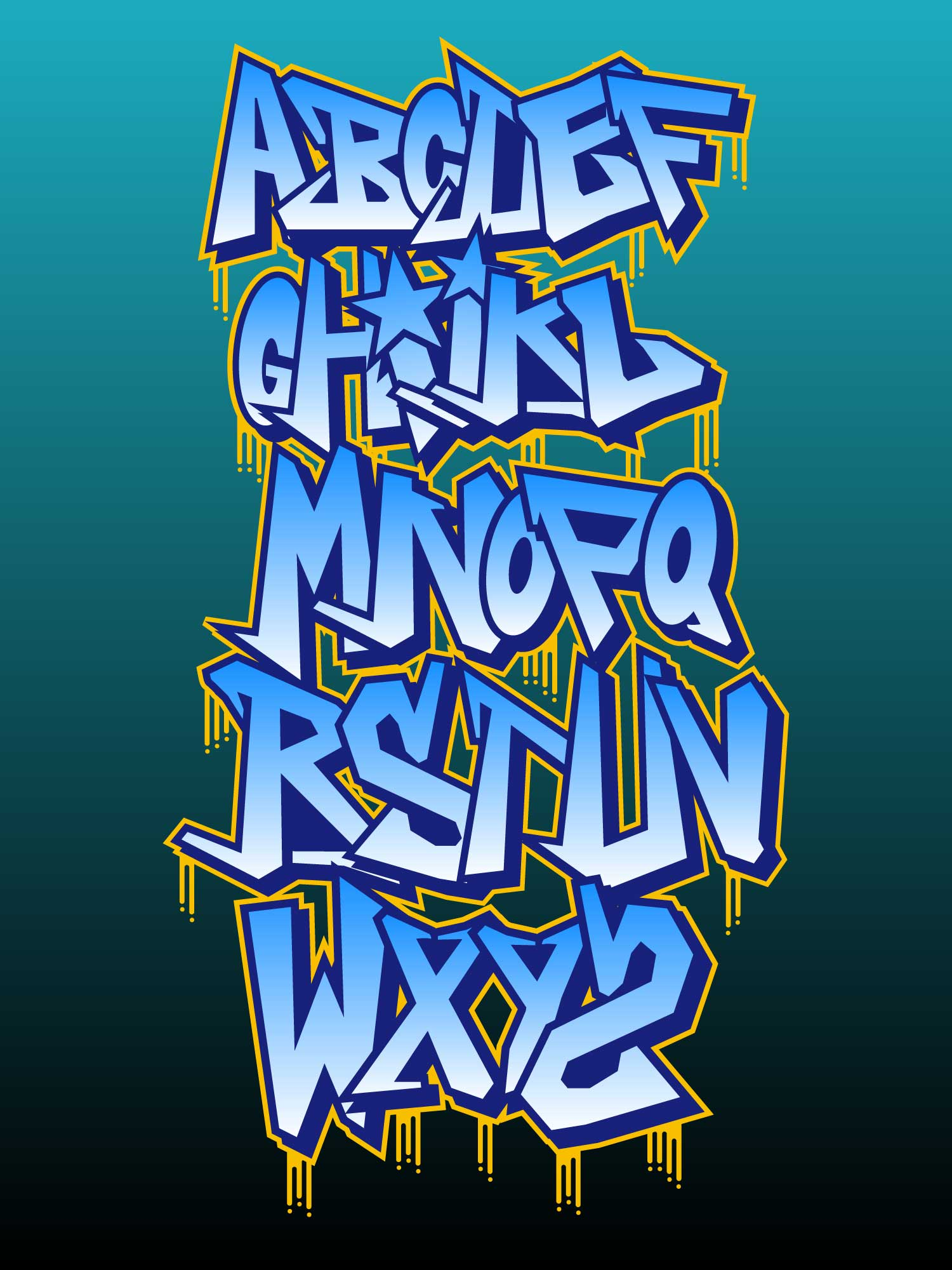 Beautiful graffiti alphabet vectors download free vector art stock graphics images