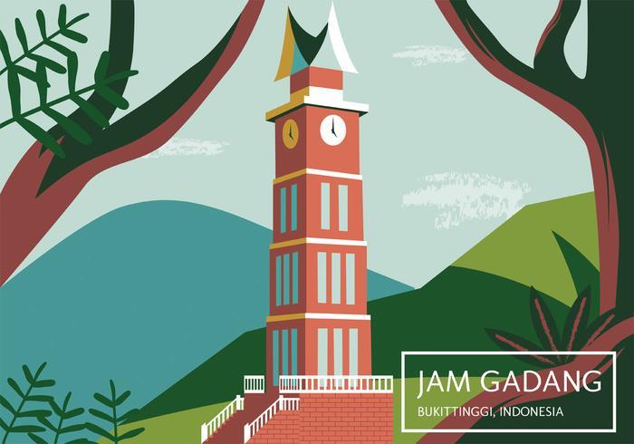 Indonesia Pride Building (Jam Gadang) Vector Design