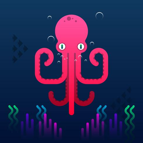 Schattig Octopus Cartoon vectorillustratie.