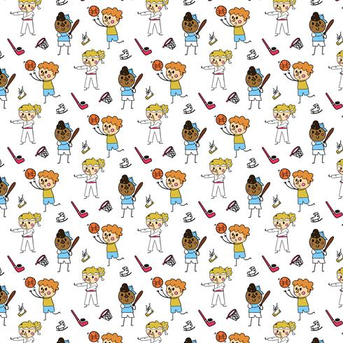 Cute Pattern With Character Doing Sport Games