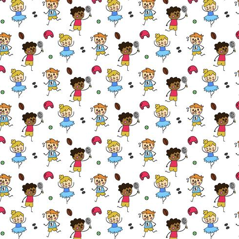 Cute Pattern With People Doing Sport Activities