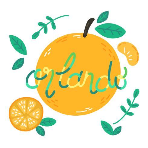 Söt Apelsiner Med Lettering Abput Orlando City