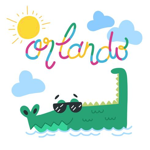 Cute Alligator Wearing Sun Glasses With Sun And Clouds