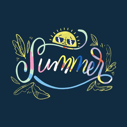 Colorful Lettering About Summer With Sun Character And Leaves