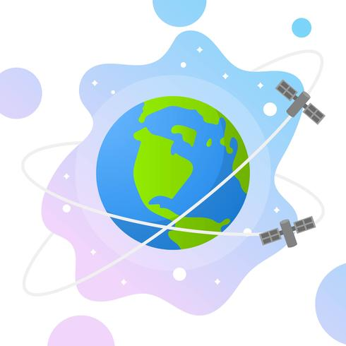 Flat Globe with Gradient space  and satelite Background Vector Illustration