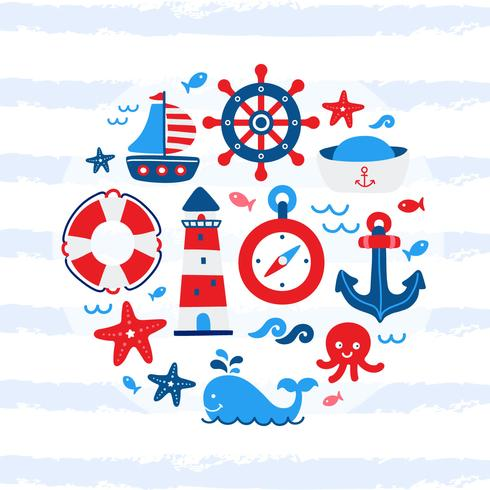 Cute Nautical Cartoon Elements