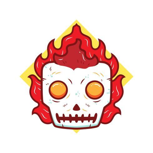 Flaming Skull Vector