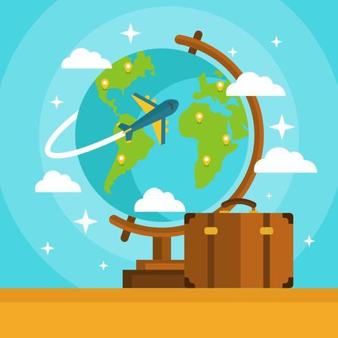 Globe med flygplan och resväska vektor