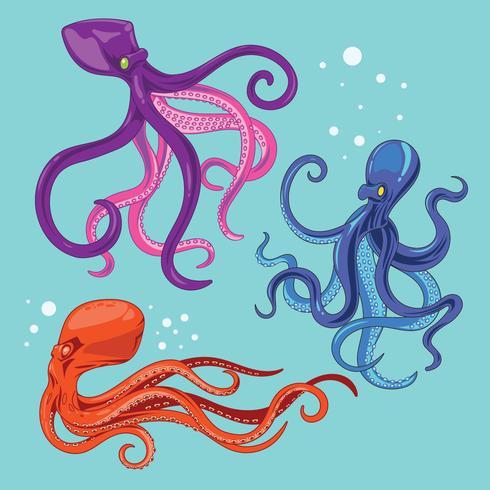 Illustration Kollektion av bläckfisk med tentor