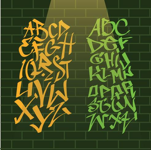 Download Graffiti Alphabets on Wall Vector Pack - Download Free ...