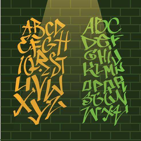 Graffiti alfabet på Wall Vector Pack